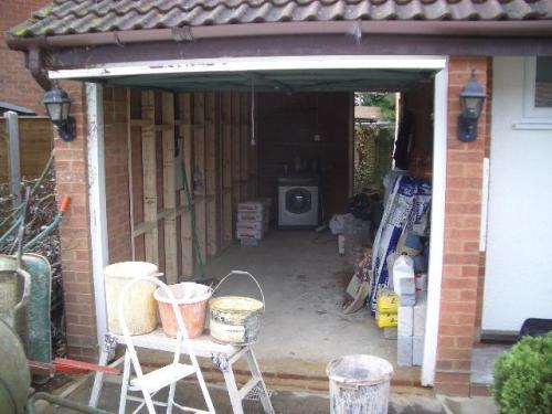You Can Just See The Stud Work Inside Garage Conversion